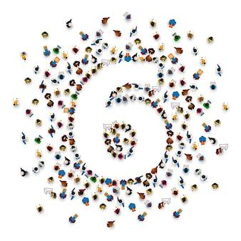 Große gruppe von menschen in form von nummer 6 sechs. menschen schriftart. vektor-illustration