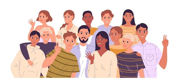 Große gruppe von verschiedenen menschen. gemeinschaft junger menschen.
