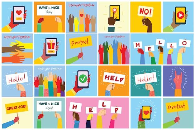 Große hände halten banner und telefone mit verschiedenen nachrichten. modernes konzept für webbanner, websites, infografiken. kreative moderne flache designillustration