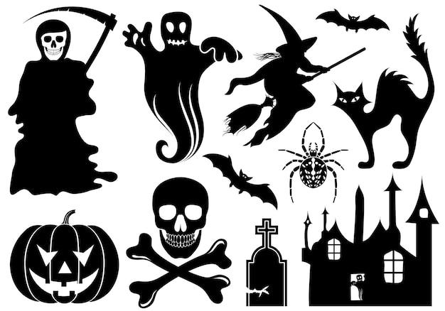 Große halloween-sammlung mit fledermaus, kürbis, hexe, geist, element für design, vektorillustration