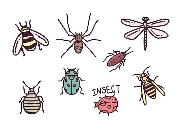 Große hand gezeichnete linie satz von insekten. insektenillustration. insekten kritzeln