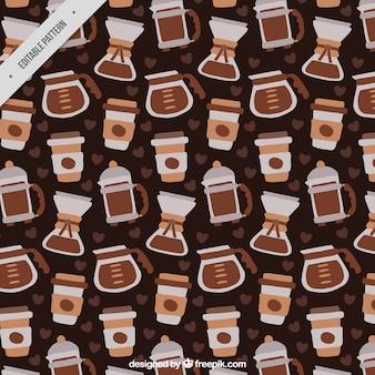 Große handgezeichnete muster mit verschiedenen kaffeemaschinen
