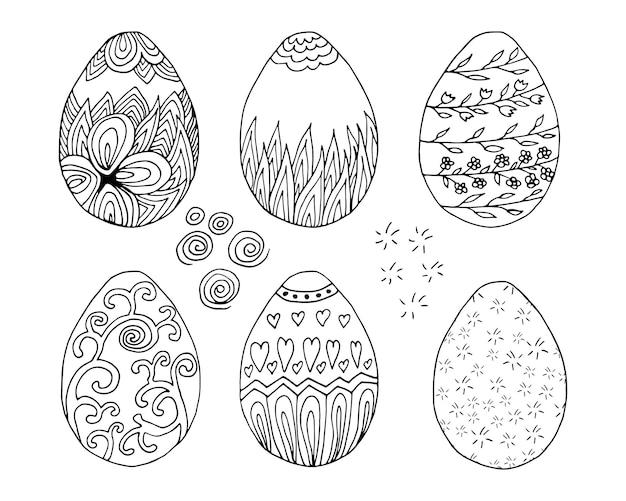 Große handgezeichnete ostereier mit dekoration. doodle-vektor-illustration im niedlichen zenart-stil. element für grußkarten, poster, aufkleber und saisonales design. isoliert auf weißem hintergrund