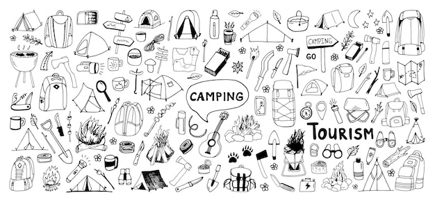Große handgezeichnete vektor-camping-clip-art-set reisedesign