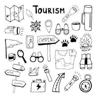 Große handgezeichnete vektor camping navigation clip art set reisedesign