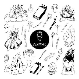 Große handgezeichnete vektor-lagerfeuer-clip-art-set reisedesign