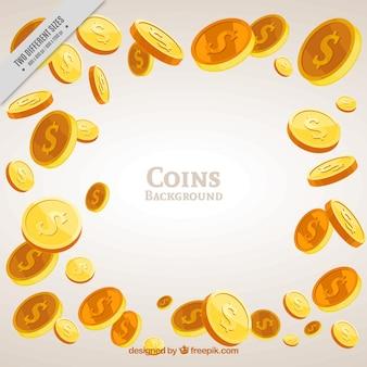 Große hintergrund der goldenen münzen