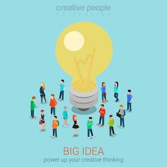 Große idee brainstorming flache 3d-web
