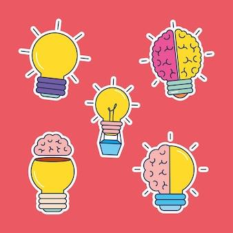 Große idee glühbirnen icon-set
