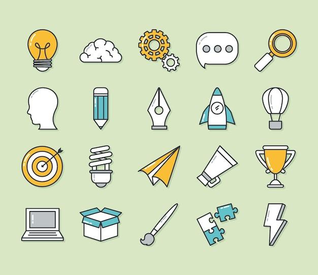 Große idee icon set design