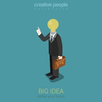 Große idee kreative glühbirne flache 3d-web