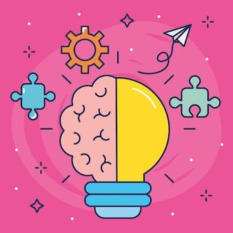 Große ideenillustration mit glühbirnenlicht