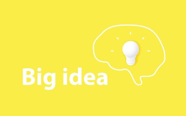 Große ideenkonzept kreativität und brainstorming