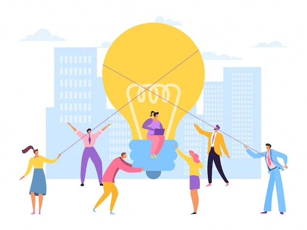 Große ideenunterstützung teamwork, illustration. kreatives projekt der geschäftsleute mann frau charakter zusammen, mitarbeiter