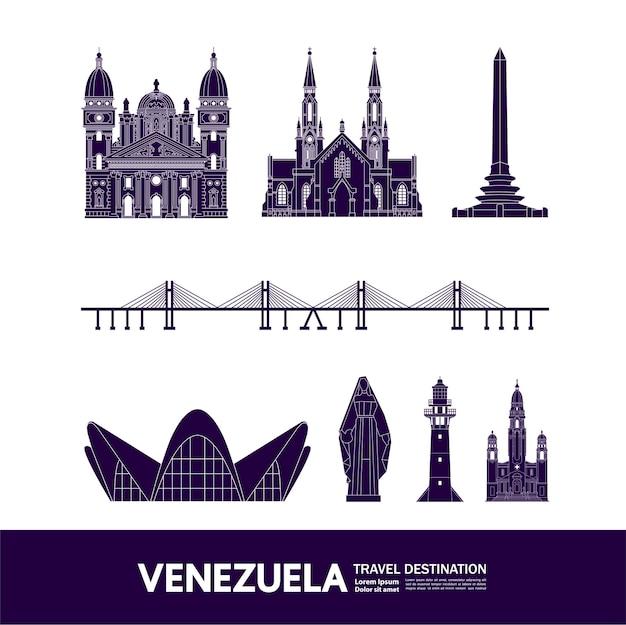 Große illustration des reiseziels venezuela.