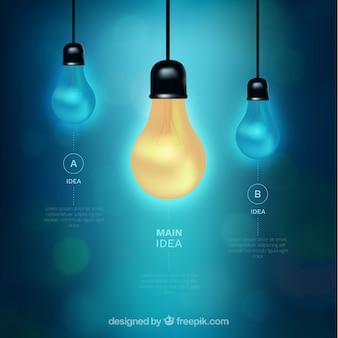 Große infografik mit drei glühbirnen und bokeh-effekt