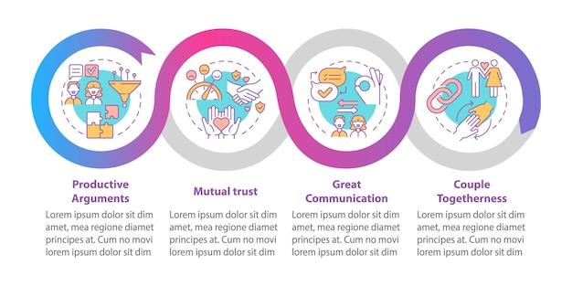 Große infografik-vorlage für kommunikationsvektoren. gestaltungselemente der präsentation des gegenseitigen vertrauens. datenvisualisierung mit 4 schritten. info-diagramm zur prozesszeitachse. workflow-layout mit liniensymbolen