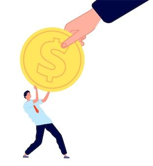 Große investition. kleiner mann, unternehmensführung und finanzielle hilfe