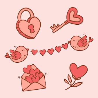 Große isolierte hand gezeichnete karikaturfigur und elemententwurfstier in der liebe, gekritzelart-valentinstagkonzept flache illustration