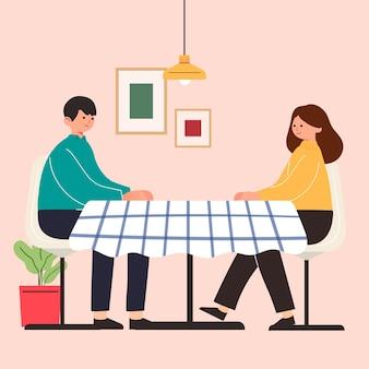 Große isolierte karikatur des jungen mädchens und des jungen in der liebe, das paar teilt und fürsorgliche liebe, datierung, 3d illustration