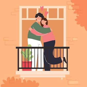 Große isolierte karikatur des jungen mädchens und des jungen in der liebe, paar, das liebe teilt und sich um sie kümmert, 3d illustration