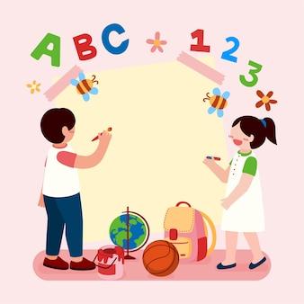 Große isolierte zeichentrickfigurenillustration von niedlichen kindern, die auf einem papier malen und neue dinge lernen