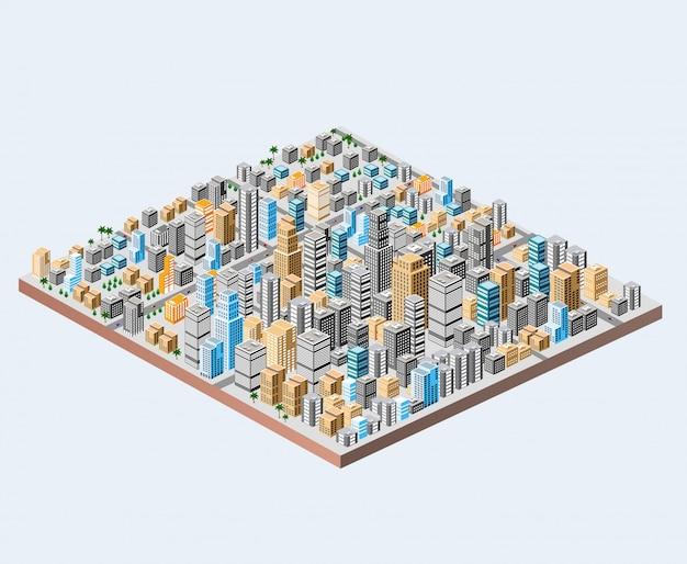 Große isometrische stadt mit hunderten verschiedenen häusern