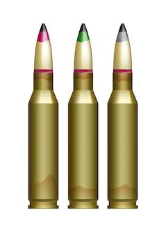 Große kaliberpatronen mit kugeln in verschiedenen farben.