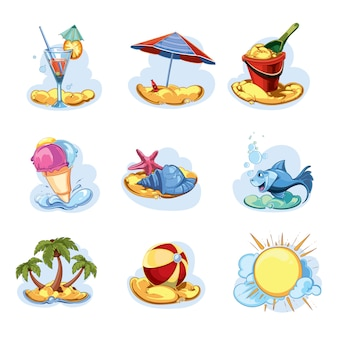 Große karikatursammlung des glücklichen sommerikonensatzes