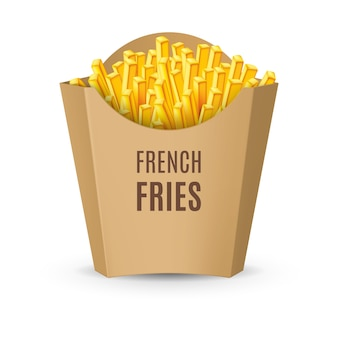 Große kartonpackung mit pommes frites illustration der fast-food-ikone auf weiß