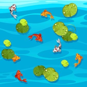 Große koi fische im teich