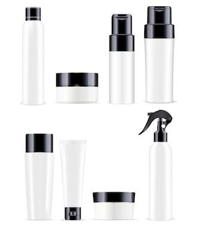 Große kosmetische flaschen packen in schwarzweiss-farbe