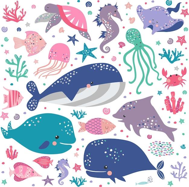 Große kreative seefahrt mit meeresbewohnern. quallen, tintenfisch, rampe, clownfisch, krabbe, seepferdchen.