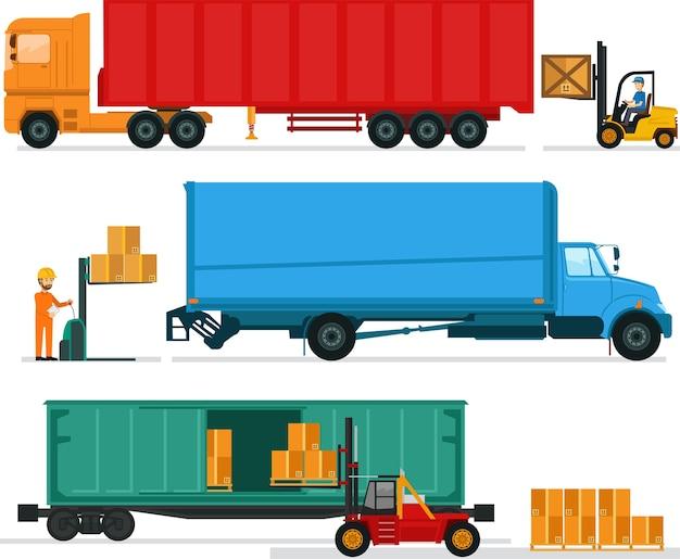 Große lastwagen, die material am lager laden