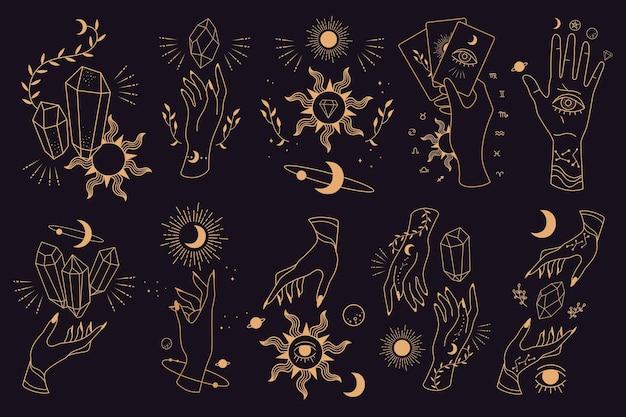 Große menge an magischen und astrologischen symbolen. hand posiert.