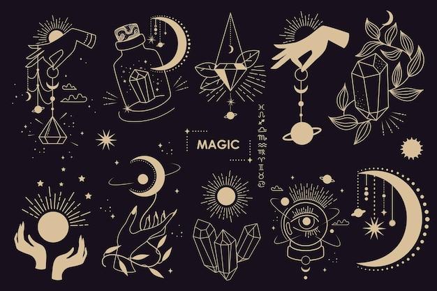 Große menge an magischen und astrologischen symbolen.