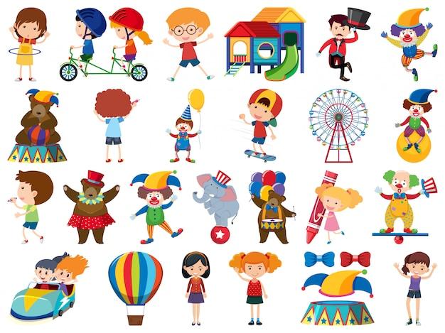Große menge von isolierten objekten von kindern und zirkus