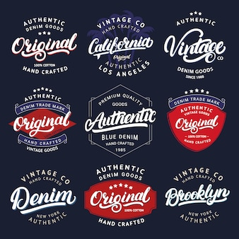 Große menge von kalifornien, vintage, brooklyn, denim, original und authenic handgeschriebenen schriftzug