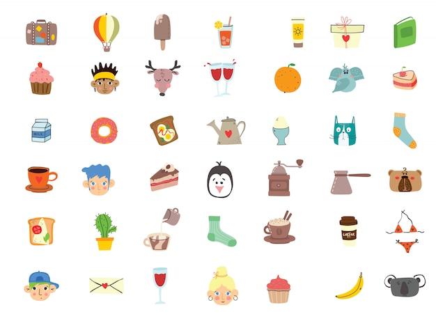 Große menge von kindern, essen, kaffee, reisen und sommerferien bezogenen objekten und ikonen. moderne flache artillustration
