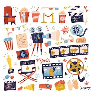 Große menge von kino-symbolen. film machen und film schauen in der kinoillustrationssammlung.