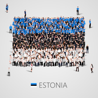 Große menschengruppe in form der estnischen flagge