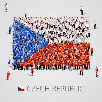 Große menschengruppe in form der tschechischen flagge
