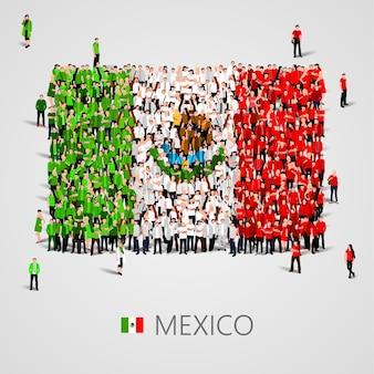 Große menschengruppe in form einer mexikanischen flagge