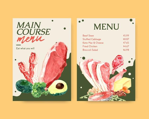 Große menüvorlage mit ketogenem diätkonzept für restaurant- und lebensmittelgeschäftaquarellillustration.