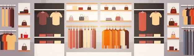 Große mode-shop-supermarkt-frauenkleidungs-einkaufszentrum-innenfahne mit kopienraum