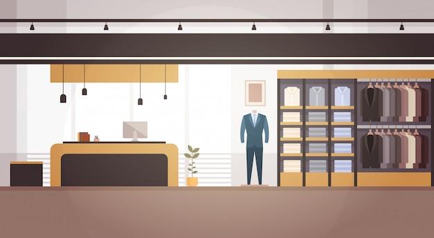 Große mode-shop-supermarkt-männliche kleidungs-einkaufszentrum-innenfahne mit kopienraum