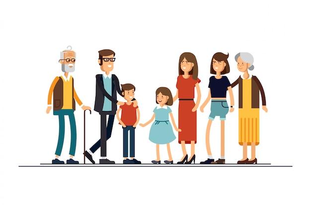 Große moderne familienillustration. verwandte stehen zusammen. großeltern, mutter, vater, geschwister