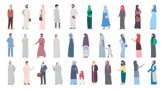 Große muslime setzen ein. arabische frauen- und mannsammlung in verschiedenen anzügen und traditioneller kleidung. frau, die hijab trägt. islam religion. illustration