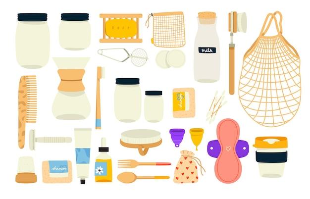 Große null-abfall-konzeptillustrationen mit verschiedenen umweltfreundlichen tauschgeschäften für küche, bad und alltag Premium Vektoren