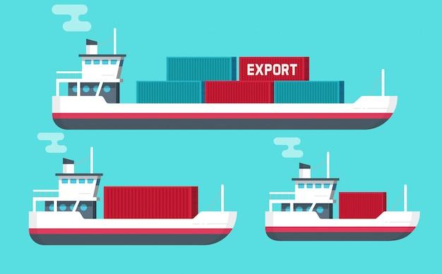 Große oder kleine frachtschiffe der flachen karikatur oder versandfrachterboote, die frachtbehälter tragen